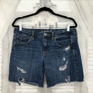 American Eagle Destroyed Blue Denim Jean Shorts